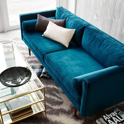 west elm blue sofa